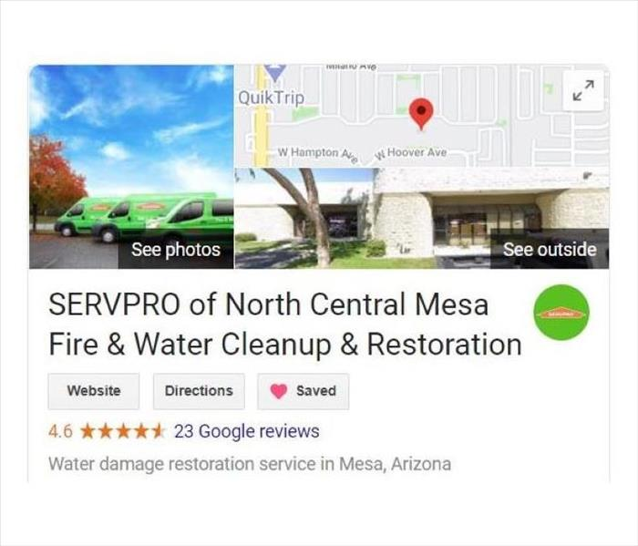 SERVPRO's google business page. There is a van, the map marker location, and the best way to get a hold of SERVPRO